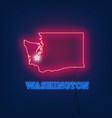 neon map state of washington on dark background vector image vector image