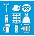 Oktoberfest beer festival icons set in white and vector image vector image
