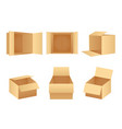 paper cardboard package boxes isometric open empty vector image vector image