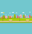 public spring park with pink red vector image vector image