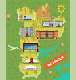 sao paulo map with famous landmarks brazil places vector image