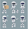 set of cute white ai machines vector image vector image