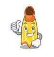 thumbs up swim fin character cartoon vector image