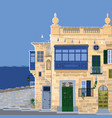 traditional maltese valletta houses made sandy vector image
