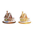 two gingerbread houses cute hand drawn honey vector image vector image