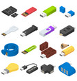 usb flash drive icons set isometric style vector image vector image