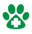 veterinary care icon green paw with cross vector image