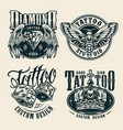 vintage tattoo studio monochrome badges vector image vector image