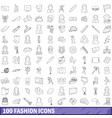 100 fashion icons set outline style vector image vector image