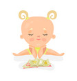 adorable baby girl sitting and playing with book vector image vector image