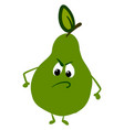 angry green pear on white background vector image vector image