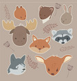 animals sticker set vector image vector image