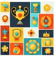 Background with trophy and awards in flat design vector image vector image