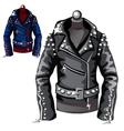 black leather biker jacket vector image