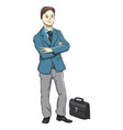 businessman character on a white background vector image vector image