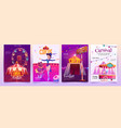 circus show placards set amusement park banners vector image