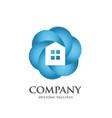 color house circle logo vector image vector image