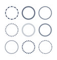 cute dark blue circle pattern emblems set vector image vector image