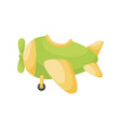 cute green-yellow airplane on white background