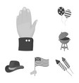 day of patriot holiday monochrome icons in set vector image