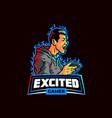 excited gamer esport team mascot logo badge