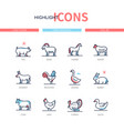 farm animals collection - line design style icons vector image