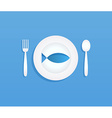 Fish on plate vector image