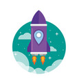 flat purple rocket ship launched to the space vector image vector image