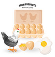 free range eggs bunch of eggs and chicken vector image