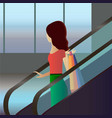 girl with bags going down by escalator in shopping vector image vector image