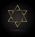 golden star of David on black background vector image