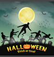 halloween human escape from zombie in graveyard vector image vector image