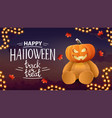 happy halloween trick or treat postcard with city vector image