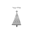 Happy holidays ethnic pattern christmas tree card vector image vector image