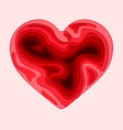 happy valentines day 3d paper cut heart concept vector image vector image