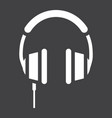 headphone solid icon listen and music vector image vector image