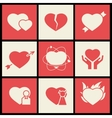 Heart flat icons set for valentines day and vector image vector image