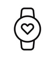 heart rate watch icon vector image vector image
