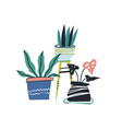 house plants color hand drawn vector image