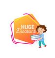 huge discount school sale banner clearance of vector image