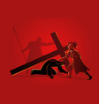 jesus falls for third time vector image vector image