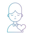 line boy with hairstyle and heart design vector image vector image