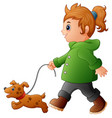 little girl walking with hi vector image