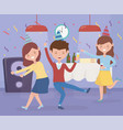 man and women dancing and drinking celebration vector image