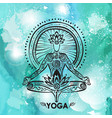 Man in lotus yoga pose on watercolor background vector image