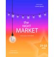 night market fest festival poster vector image vector image