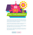 only weekend big sale promo label with blooming vector image vector image
