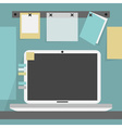 open laptop on desk with pinned papers and a card vector image