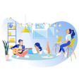 party rest break in coworking office flat banner vector image