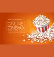 popcorn in paper bucket vector image vector image